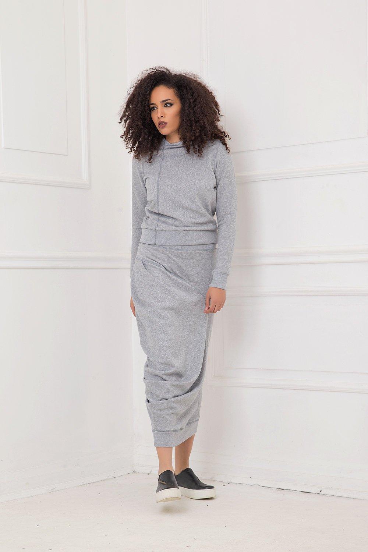 Gray Blouse, Women Blouse, Plus Size Clothing, Minimalist Blouse, Long Sleeve Blouse, Casual Blouse, Urban Clothing, Oversized Blouse