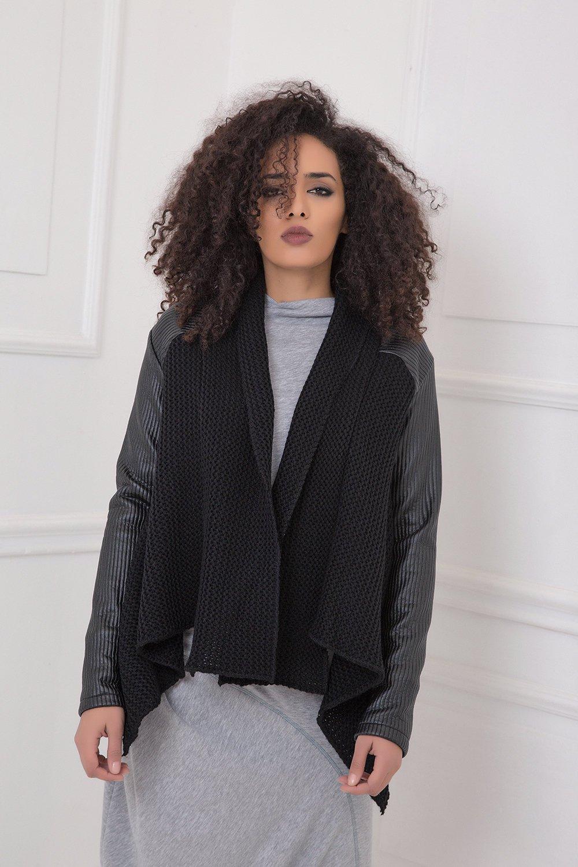 Winter Cardigan, Black Cardigan, Plus Size Clothing, Leather Cardigan, Knitted Cardigan, Plus Size Cardigan, Oversized Cardigan, Warm