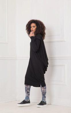 Dress For Women, Black Dress, Draped Dress, Black Midi Dress, Plus Size Clothing, Short Sleeve Dress,Black Extravagant Dress,Oversized Dress