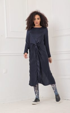 Plus Size Midi Dress, Women Navy Blue Dress, Plus Size Clothing, Silk Dress, Long Sleeve Dress, Oversized Dress, Trendy Plus Size Dress
