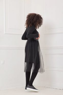Tulle Dress, Midi Dress, Black Dress, Knitted Dress, Women Dress, Plus Size Clothing, Jumper Dress, Long Sleeved Dress, Gothic Clothing