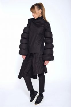 Black Cotton Coat,Asymmetrical Jacket,Winter Jacket,Avant Garde Clothing, Oversize Black Jacket, Extravagant Black Jacket,Futuristic Jacket