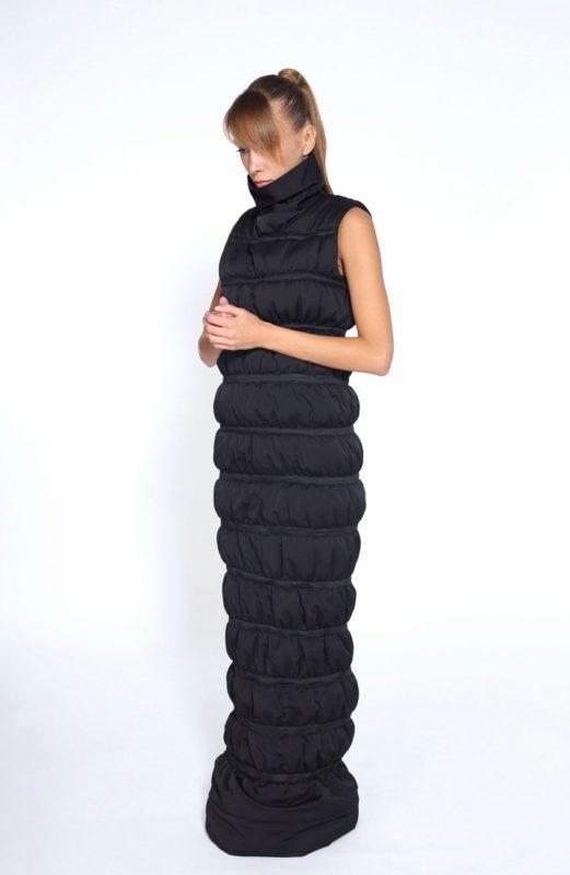 Black Winter Sexy Dress,  Black Cotton Dress, Long Zipper Dress, Extravagant Party Dress, Black Long Dress, Long Sleeveless Dress,Long Dress