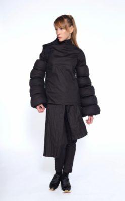 Black Cotton Coat,Asymmetrical Jacket,Winter Jacket,Avant Garde Clothing, Oversize Black Jacket, Extravagant Black Jacket,Futuristic Jacket
