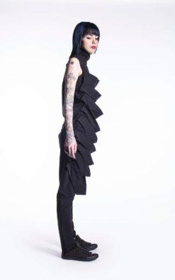 New Women's Black Top, Geometric Top, Casual Long Top, Black Women's Top, Black Blouse, Black Cotton Top,Fringe Gothic Dress,Black Tunic