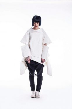 Avant Garde Top, White Loose Top, White Cotton Top, High Fashion Jacket, Over Sized Jacket,Women's White Top,Loose Jacket,Asymmetrical Dress