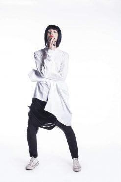 New White Summer Top, White Wrap Top, White Top, Asymmetrical Top, White Shirt, Over Size Shirt, Maxi Shirt, White Maxi Tunic,White Sexy Top