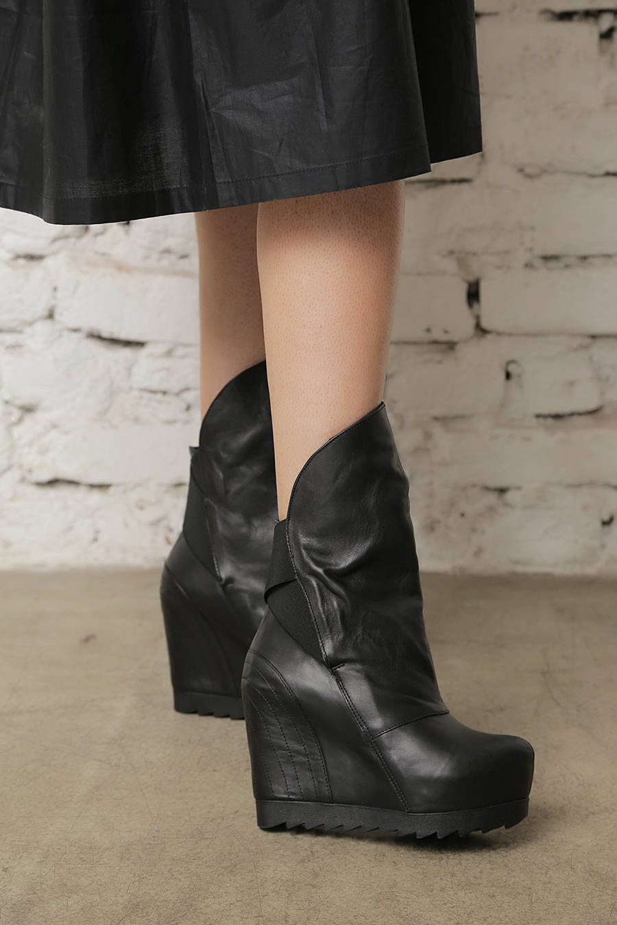 47bf461dbf9 Leather Platform Boots - ALLSEAMS