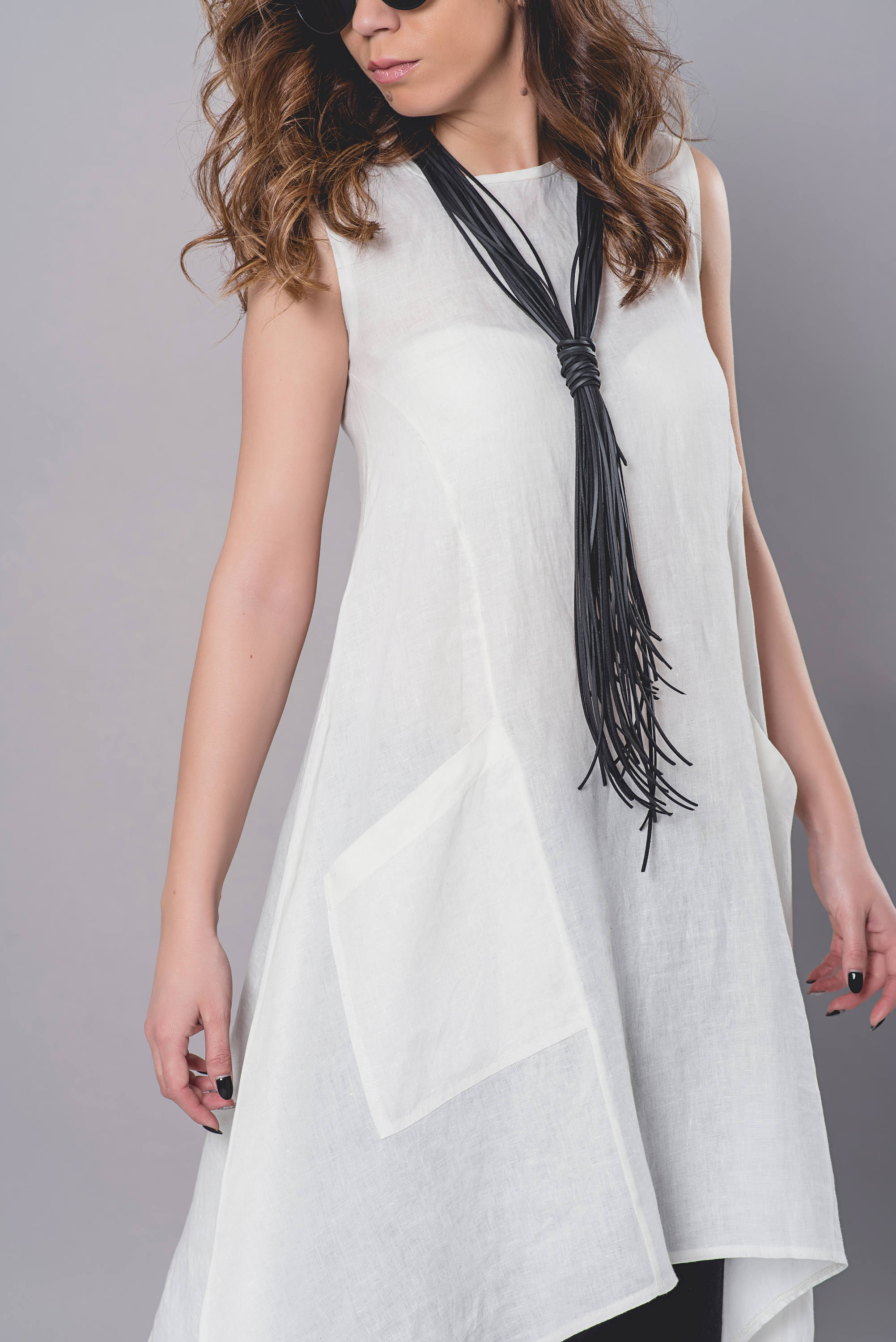 Linen Maxi Top In White Allseams