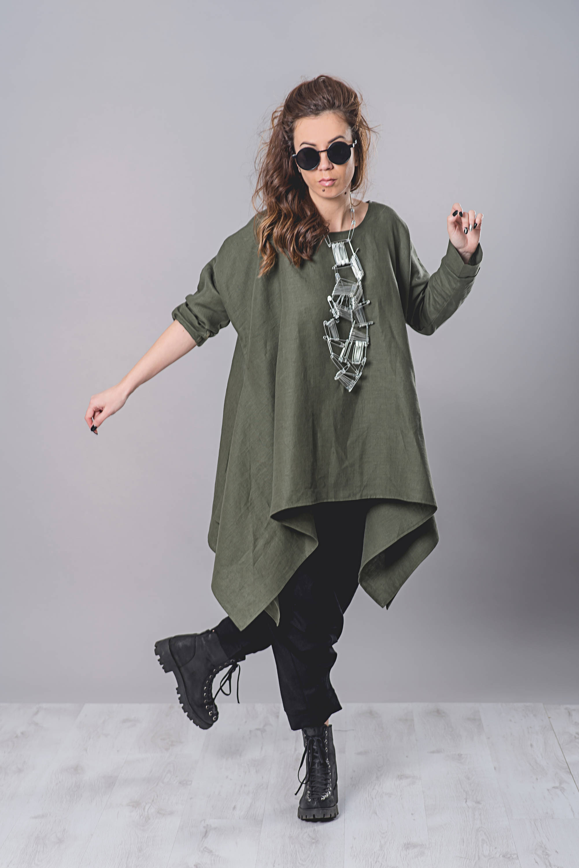 16bd5fc35f9 Linen Tunic Top In Military Green - ALLSEAMS