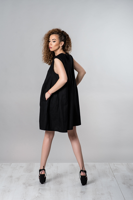 Little Black Linen Dress - ALLSEAMS