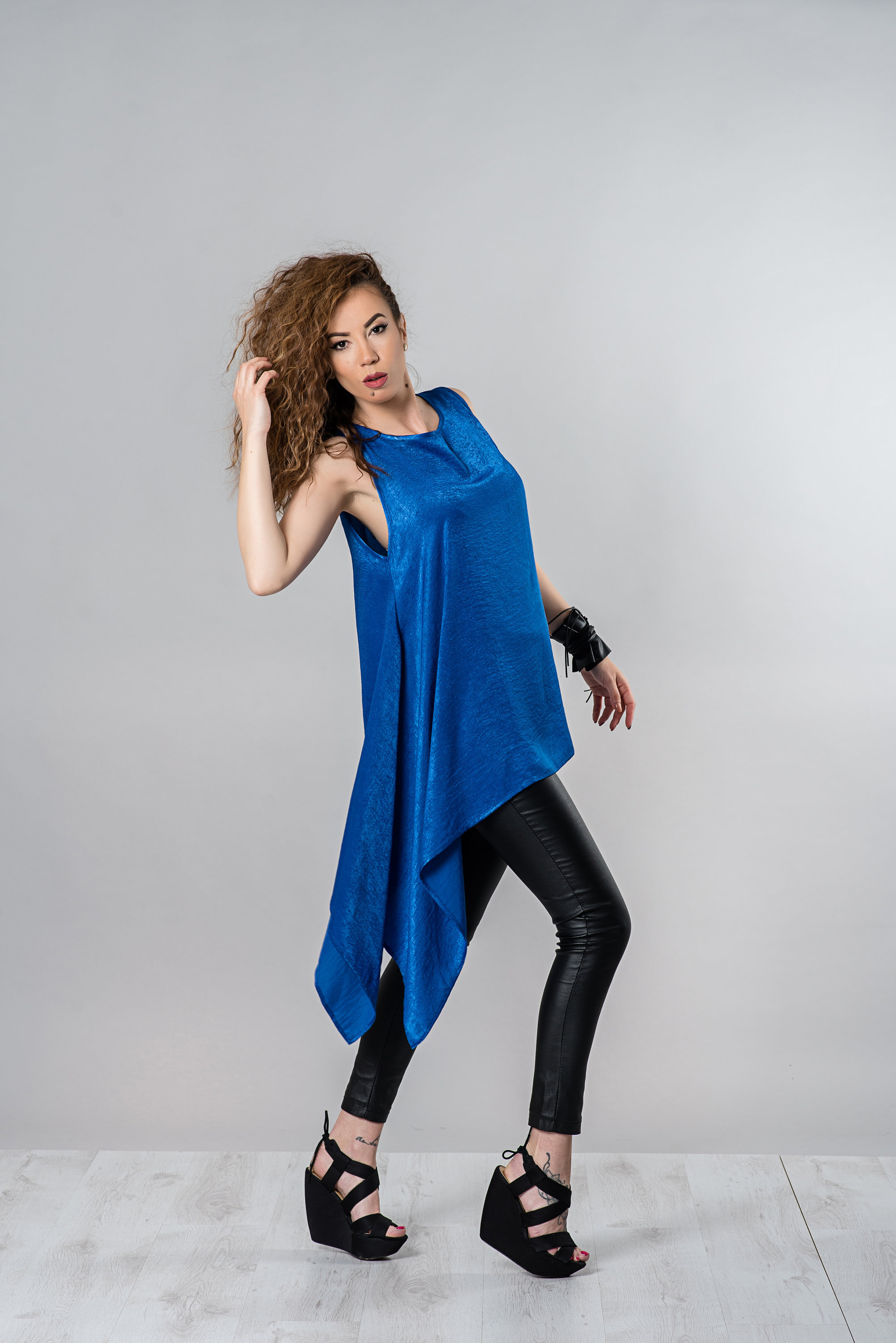Asymmetrical Tunic, Blue Tunic Top, Silk Tunic, Summer Tunic Top, Long Tunic, Sleeveless Tunic, Party Top, Casual Tunic, Plus Size Clothing