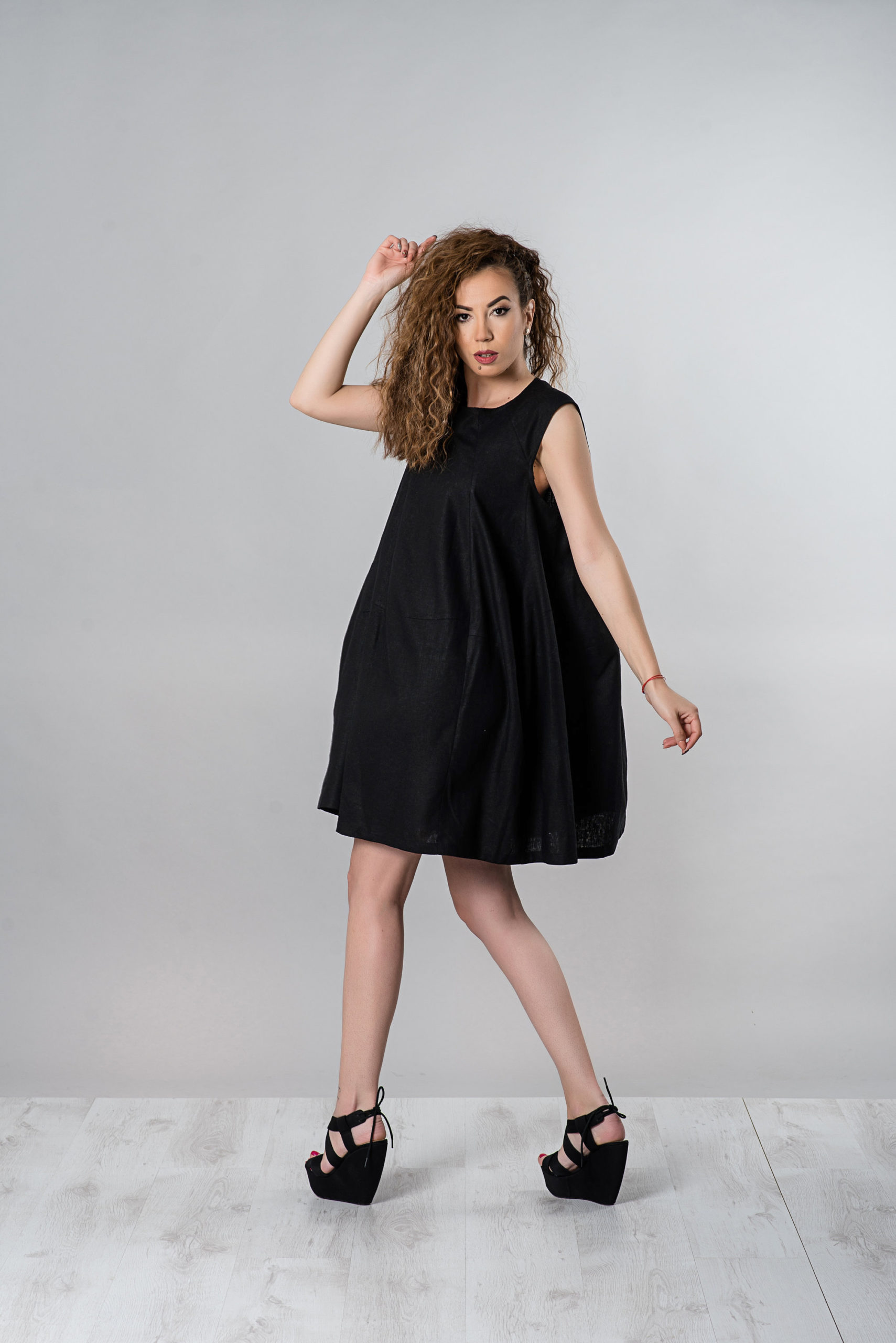 Little Black Linen Dress