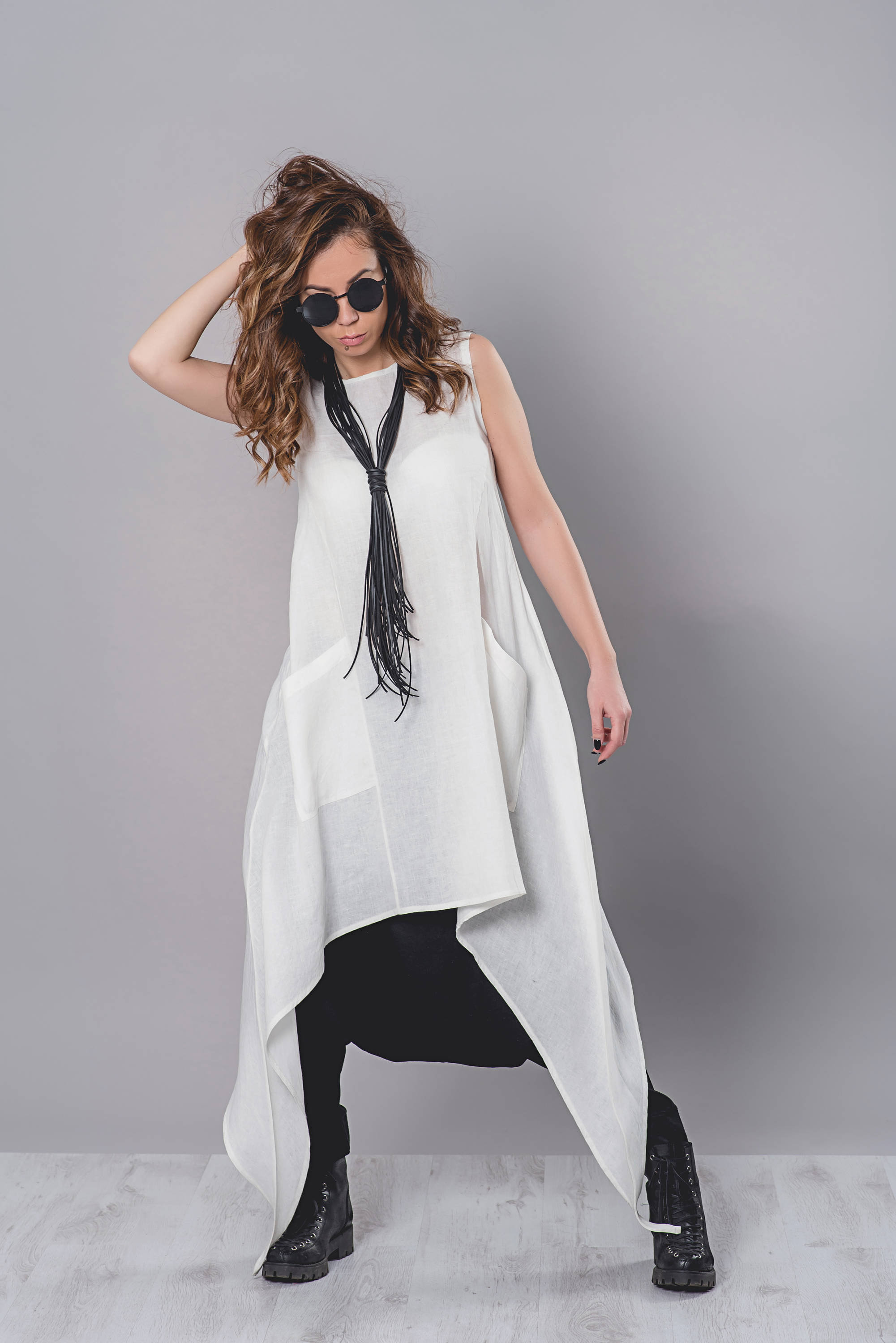 Linen Tunic, Asymmetric Tunic, Linen Clothing, Linen Top, Plus Size Tunic, White Tunic, Maxi Tunic, Women Top, Summer Top, Extravagant