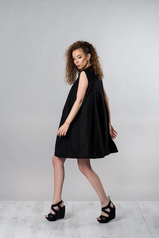 Short Linen Dress, Black Linen Dress, Linen Clothing, Plus Size Dress, Summer Dress, Women Dress, Casual Dress, Loose Dress, Black Dress,