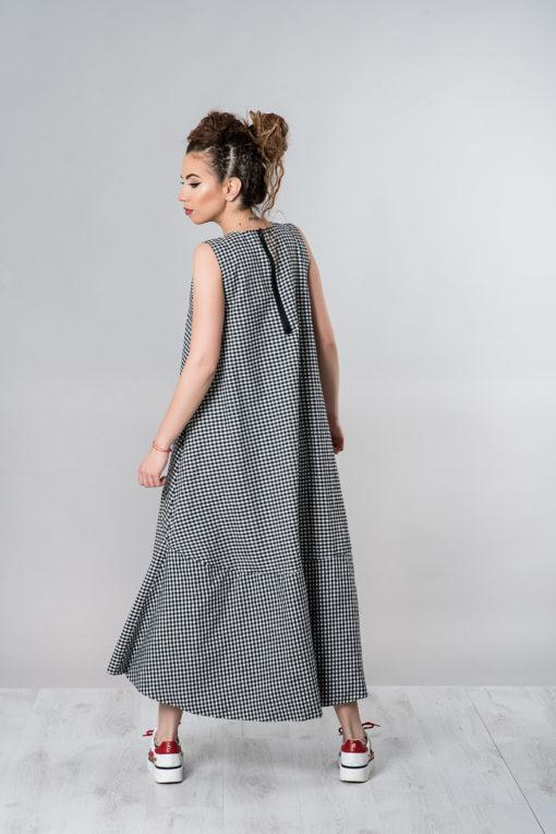Summer Dress, Maxi Dress, Plus Size Dress, Summer Clothing, Plaid Dress, Black And White Dress, Casual Dress, Long Dress, Loose Women Dress