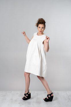 White Dress, Summer Dress, Cotton Dress, Women Dress, Loose Dress, Plus Size Dress, Knee Length Dress, Sleeveless Dress, Summer Clothing