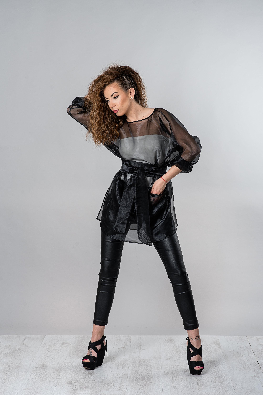 Sheer Top, Black Tunic, Organza Clothing, Plus Size Tunic, Oversized Top, Short Tunic, Women Sexy Top, Party Tunic Top, Long Sleeve Tunic