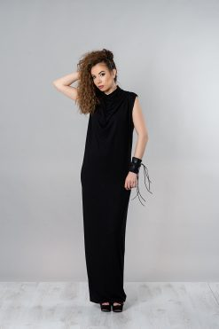 Black Maxi Dress, Long Summer Dress, Women Black Dress, Plus Size Dress, Casual Dress, Turtleneck Dress, Sleeveless Dress, Summer Clothing