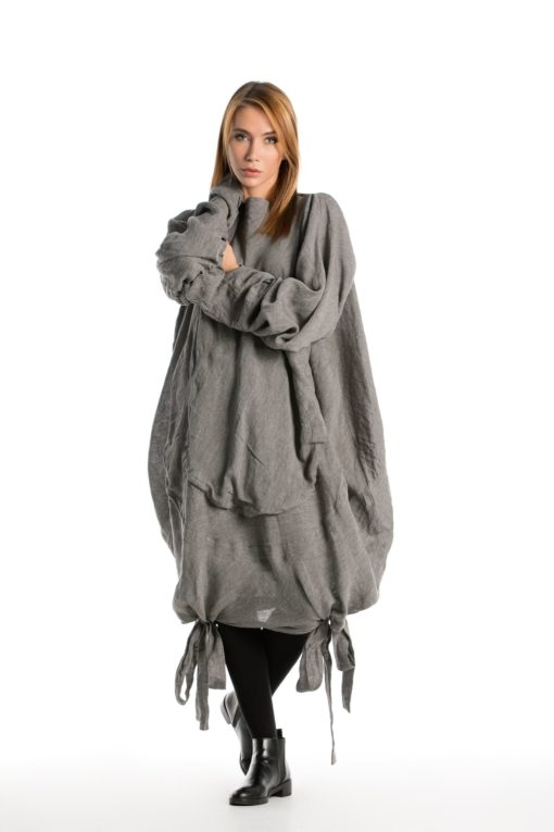 NEW COLLECTION AW 2019, Gray Over Size Tunic, Asymmetrical Top, Asymmetrical Maxi Tunic, Gray Loose Dress, Deconstructed Dress, Gray Top