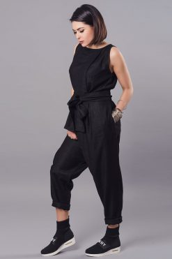 Women Jumpsuit, Linen Jumpsuit, Black Overall, Plus Size Clothing, Women Black Jumpsuit, Drop Crotch Pants, Linen Clothing, Sleeveless