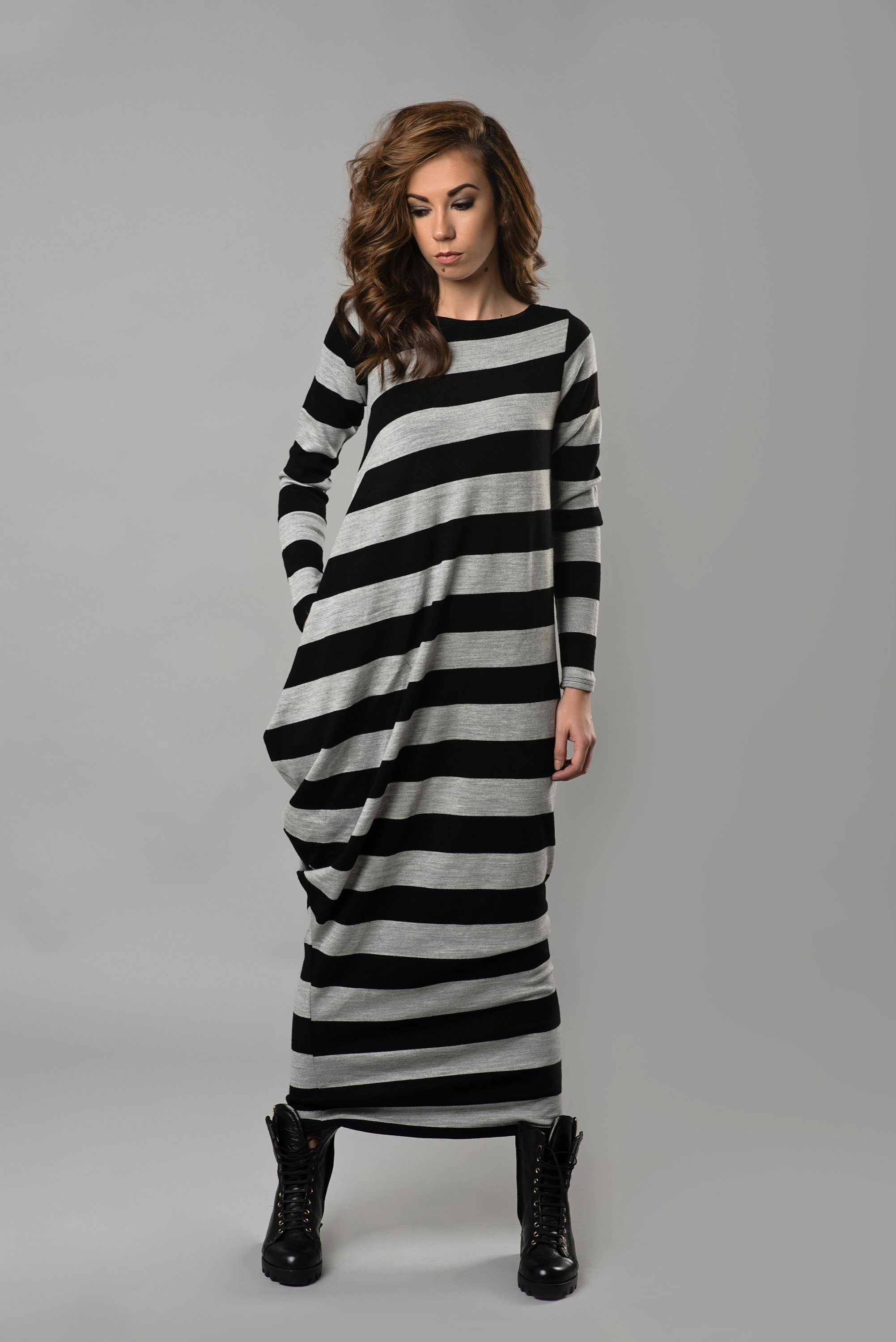 Women Long Dress, Maxi Dress, Stripe Dress, Gray Dress, Plus Size Clothing, Kaftan Dress, Plus Size Maxi Dress,Long Sleeve Dress,Loose Dress