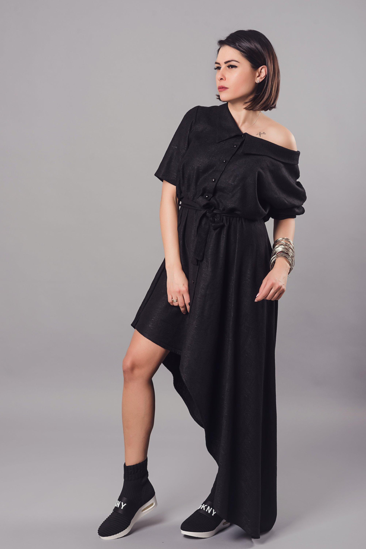 Women Dress, Linen Dress, Black Dress, Shirt Dress, Asymmetric Dress, Loose Dress, Party Dress, Gothic Dress, Belt Dress, Plus Size Clothing