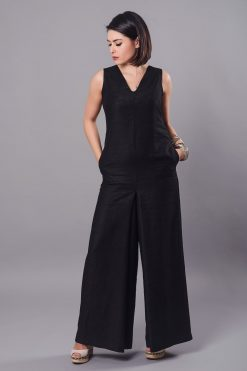Women Jumpsuit, Black Jumpsuit, Linen Jumpsuit, Wide Leg Pants, Plus Size Clothing, Women Black Overall, Drop Crotch Pants, Linen Clothing