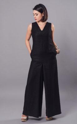 Women Jumpsuit, Black Jumpsuit, Linen Jumpsuit, Wide Leg Pants, Plus Size Clothing, Women Black Overall, Drop Crotch Pants, Linen Clothing