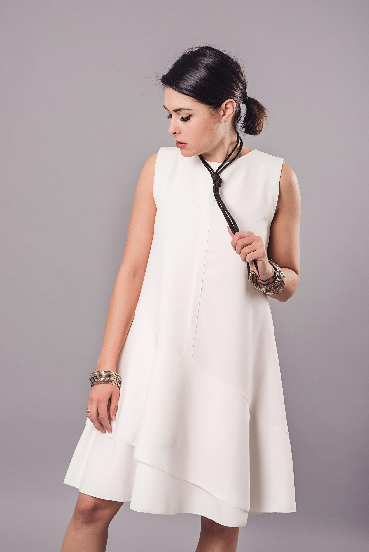 Women Dress, White Dress, Cocktail Dress, Short Dress, Summer Dress, Minimalist Dress, Party Dress, Flare Dress, Plus Size Dress, Oversize