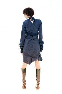 Bow Top, Elegant Tunic, Navy Bridesmaid Shirt, Deconstructed Shirt, Blue Kaftan Dress, Blue Shirt, Long Sleeve Shirt, Fitted Shirt,