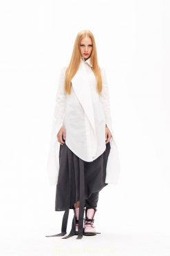 Asymmetrical Top, White Cotton Shirt, Victorian Dress, White Tunic, Asymmetrical Top, Loose Blouse, Collar Blouse, Long Sleeve Shirt