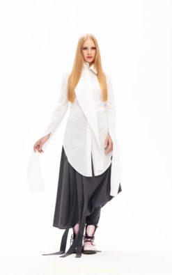 Asymmetrical Top, White Cotton Shirt, Victorian Dress, White Tunic, Asymmetrical Top, Loose Blouse, Collar Blouse, Long Sleeve Shirt