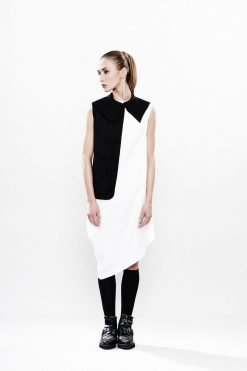 Black White Dress, Asymmetrical Dress, White Party Dress, White Cotton Dress, White Tunic Top,Geometric Dress, Short White Dress,Tunic Dress