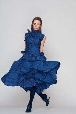 Oversized Dress, Loose Dress, Blue Dress, Turtleneck Dress, Plus Size Boho Dress, Holiday Dress, Sun Dress, Ribbon Dress, Blue Dress
