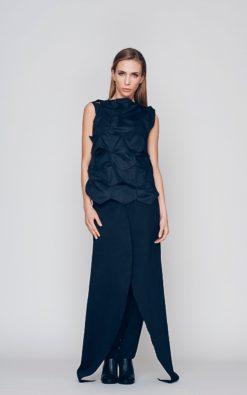 Women's Black Top, Plus Size Top Women, Geometric Top, Casual Long Top, Avant Garde Top, Sleeveless Top, Black Blouse, Black Cotton Top