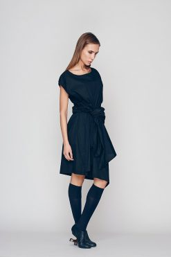 New Spring Women's Tunic, Black Tunic Dress, Loose Fit Dress, Cotton Tunic Dress, Pleated Dress, Wrap Dress, Club Dress, Cocktail Dress