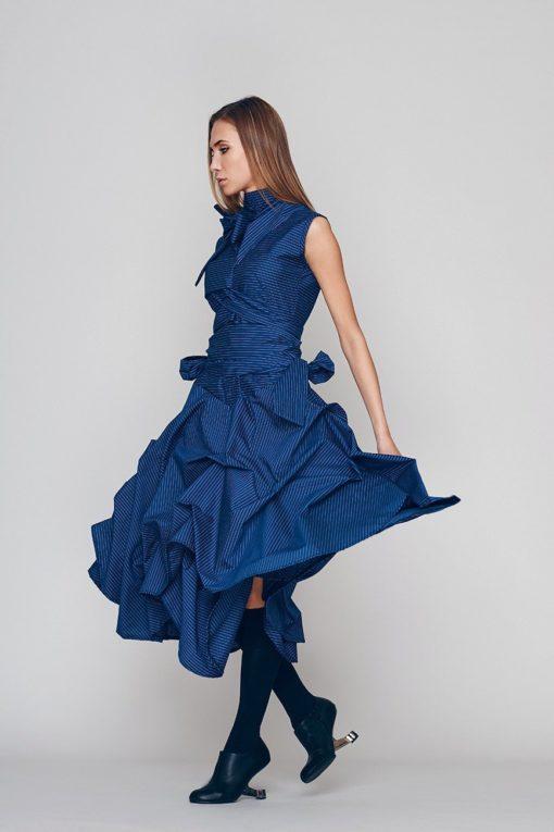 Oversized Dress, Loose Dress, Blue Dress, Turtleneck Dress, Plus Size Boho Dress, Holiday Dress, Sun Dress, Ribbon Dress, Blue Dress