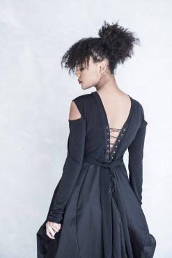 Black Dress, Long Sleeve Dress, Balloon Dress, Open Back Dress, Plus Size Dress, Maxi Dress,  Women Dress, Long Dress, Dress For Woman