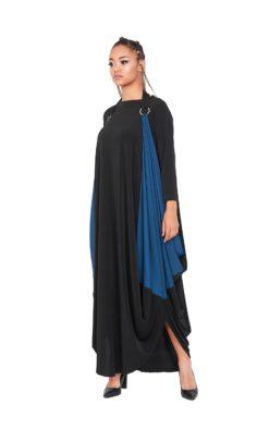 Plus Size Clothing, Cape Dress, Multi Color Dress, Alternative Fashion Dress, Black Maxi Dress, Long Sleeve Asymmetric Dress, Long Dress