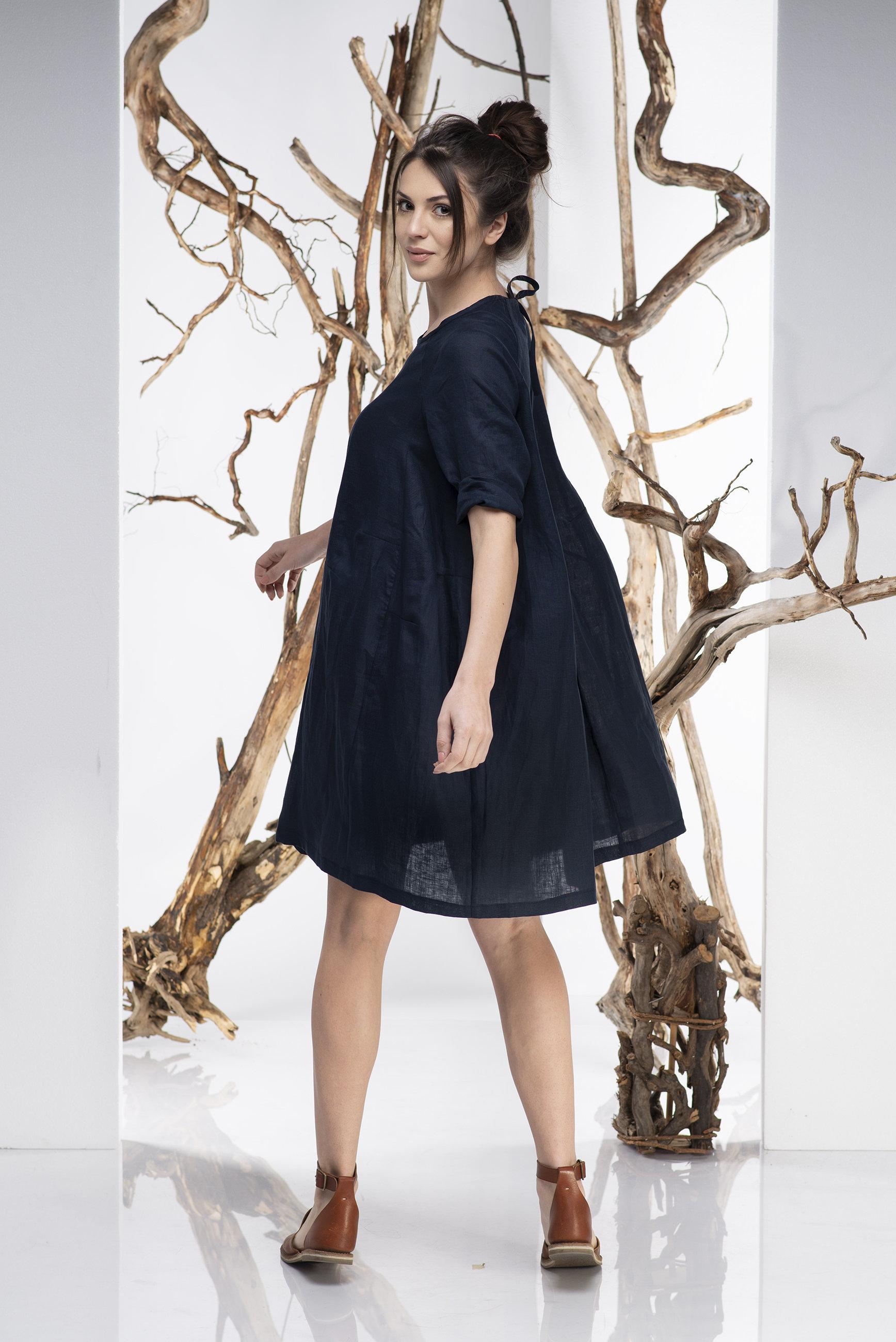 fe12d790d1 Dark Blue Tent Dress - ALLSEAMS