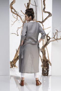 Women Cardigan, Linen Vest, Gray Dress, Belt Dress, Plus Size Linen, Long Sleeve Dress, Transitional Style, Boho Vest, Elegant Cardigan