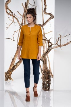 Top For Women, Linen Top, Mustard Top, Plus Size Clothing, Elegant Top, Oversize Top, Minimalist Clothing, Linen Shirt, Casual Shirt, Summer