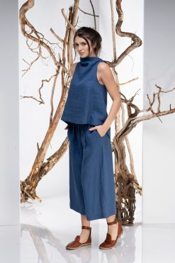 Women Top, Linen Top, Convertible Top, Blue Linen Top, Boho Top, Linen Clothing, Minimalist Top, Summer Top, Sleeveless Top, Plus Size Linen