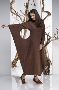 Women Dress, Linen Dress, Brown Dress, Plus Size Dress, Maxi Dress, Minimalist Dress, Oversize Dress, Plus Size Clothing, Batwing Dress