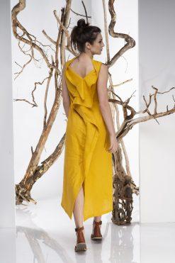 Dress For Women, Linen Dress, Maxi Dress, Asymmetrical Dress, Plus Size Linen, Avant Garde Dress, Convertible Dress, Loose Dress, Mustard