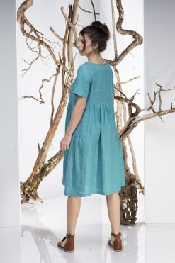 Women Midi Dress, Turquoise Dress, Linen Dress, Kaftan Dress, Linen Clothing, Plus Size Clothing, Loose Dress, Boho Dress, Oversize Dress
