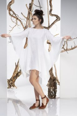 White Linen Dress, Linen Tunic Dress, Plus Size Dress, Batwing Dress, Asymmetrical Dress, White Tunic Dress,  Plus Size Linen, Avant Garde