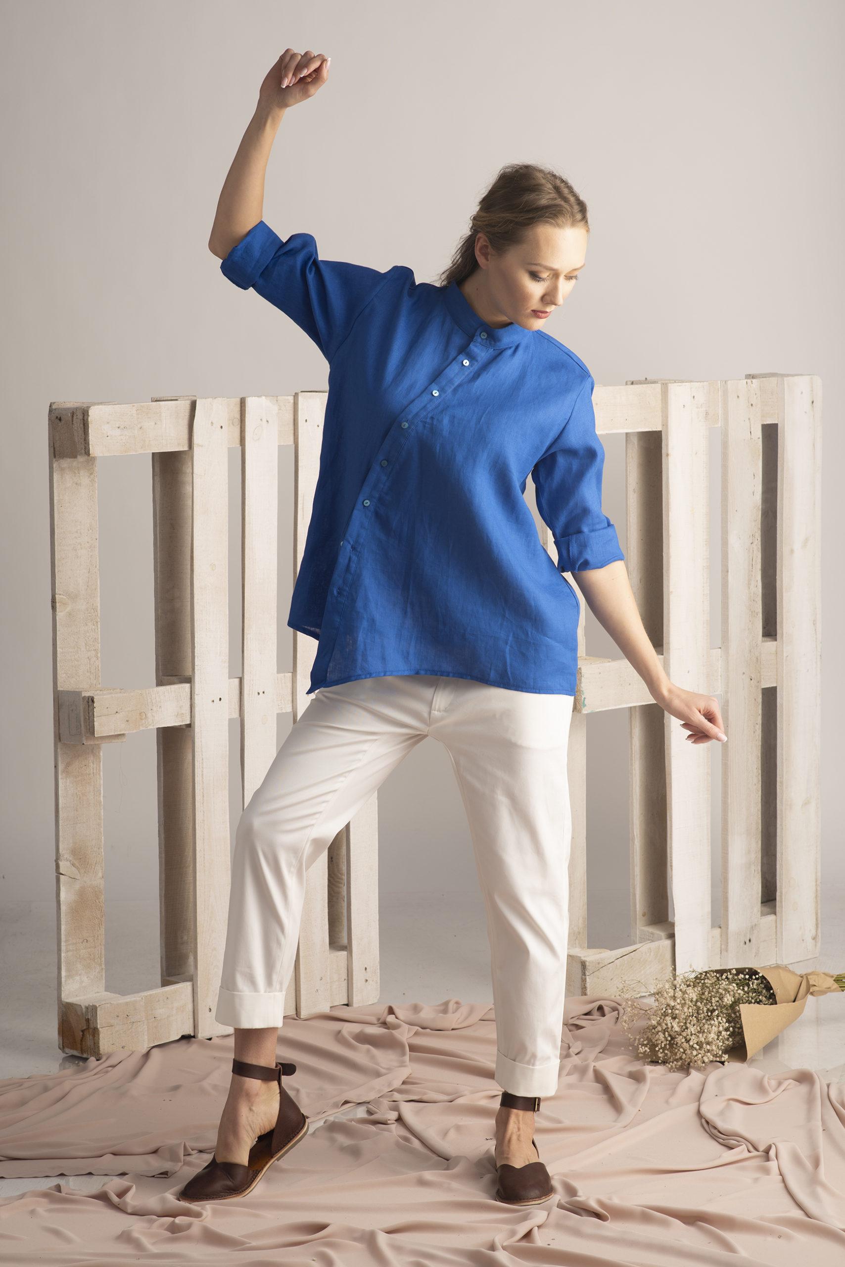 Linen Shirt In Royal Blue Allseams