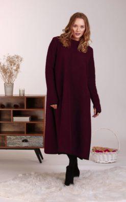 Wool Sweater Dress, Plus Size Clothing, Winter Dress, Wool Maxi Dress, Slit Dress, Long Sleeve Dress, Purple Wool Dress, Loose Long Dress
